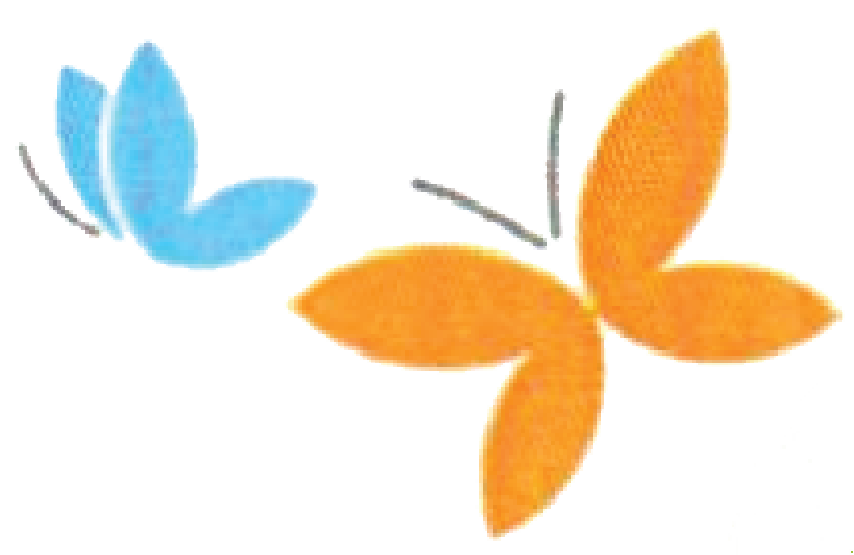 blue and orange butterfly graphic